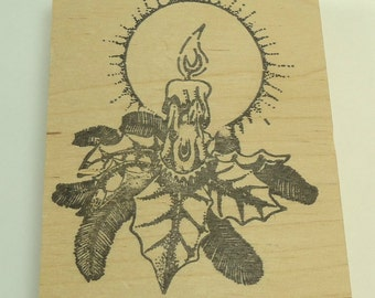 Holiday Candle With Holly Christmas Wood Mounted Rubber Stamp By Stamp Affair
