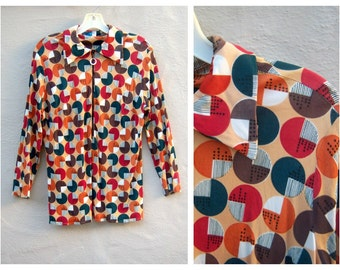 Mod gemeotric shirt / Autumn colors polyester zipper / orange forest green white rayon top / womens med