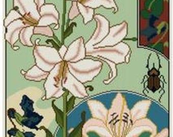 Lily and Violets Cross Stitch pattern PDF Floral pattern Botanical Cross stitch Dragonfly pattern Beetle pattern