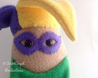 Mardi Gras Plushie, Stuffed Jester Joker Plush, READY TO SHIP