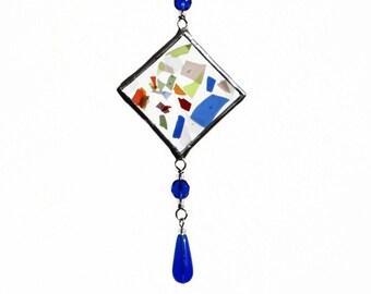 Confetti Fused Glass Light Catcher Suncatcher Multicolor Blue