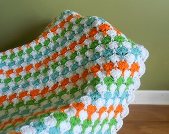 Sale Baby Blanket, Colorful, Boy or Girl, Hand Crocheted