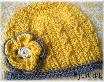 Miss Sunshine-Cable Crochet Hat-Gray-Bright Mustard-Ivory Hat-Flower Clip-M2M Persnickety-Girls Hat-Toddler Hat-Baby Hat-Fall/Winter Hat