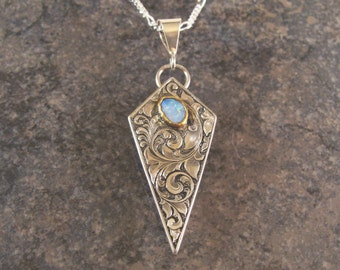 Hand Engraved Sterling Silver Art Nouveau Inspired Necklace with Opal In 22k Gold