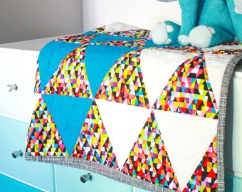Geometric Triangle Modern Baby Girl Quilt