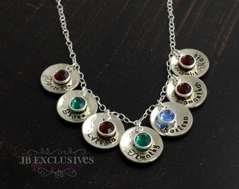 Personalized hand stamped mommy necklace - sterling silver chain - 7 baby name discs and birthstones - gifts for moms, grandmoms, nana