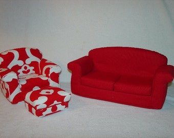 11 1/2 Inch Fashion  Doll Furniture  Red White  Sofa  Armchair Ottoman - Handmade