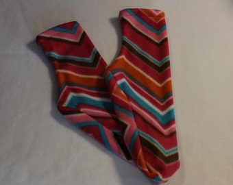 Fleece Socks or Slippers Pink Orange Chevron Stripe