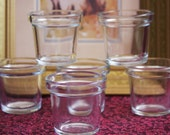 "Tea Candle Holders (6) Clear Flower Pot Design Size 2.5"" Tall 2.5"" across the top"