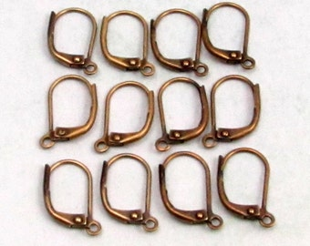 Nickel Free Lever Back Ear Wires, Antique Brass, Brass Ox, 12 Pieces,  AB112