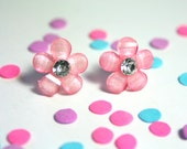 Pink Floral Earrings,  Flower Studs, Shimmery Pink, Simple Daisy Rhinestone Earrings, Bridesmaid Jewelry