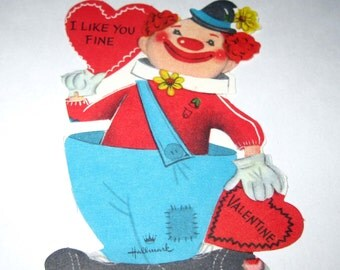 Vintage Unused Children's Novelty Valentine Greeting Card with Circus Clown and Large Pants by Hallmark