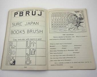 Vintage 1920s Second Grade Seatwork for Silent Reading Workbook for Children Includes Halloween