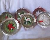 Vintage Christmas ornament Jewel Brite, plastic ornaments with figures inside