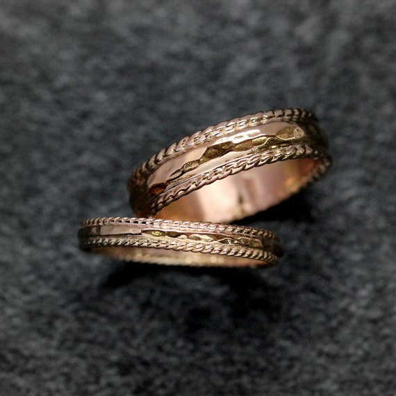 14k Rose Gold Wedding Ring Set, Hammered Bands in Recycled Eco Friendly Rose Gold