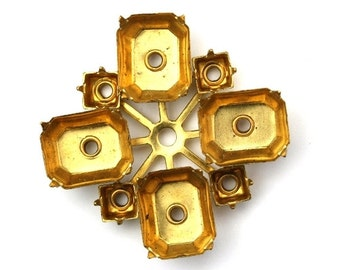 Rhinestone Prong Settings Brass 12x10mm Octagon / 5mm Square Multiple Stone (1) FI759
