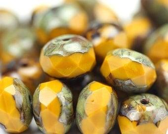 Czech Glass Beads Fire Polished Gemstone Donuts 9x6mm Butternut Picasso (12) CZF698