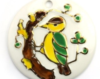 Vintage Japanese Porcelain Bird Pendant 1970s 41mm (1) VCP068