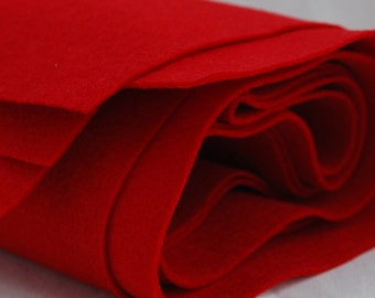 100% Pure Wool Felt Fabric - 1mm Thick - Made in Western Europe - Red