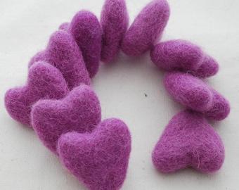 3cm 100% Wool Felt Hearts - 10 Count - Amethyst Purple