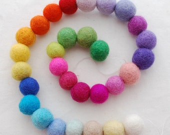 100% Wool Felt Balls - 30 Count - 1.5cm - Assorted Light and Bright Colors