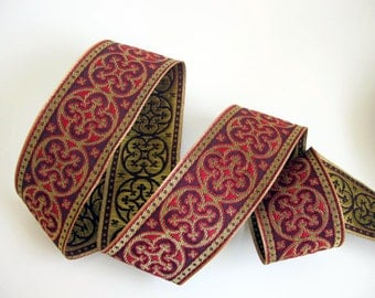 2 yards  BYZANTINE Jacquard trim in metallic antique gold on red and wine red. 1 5/8 inch wide. 958-F Brocade trim
