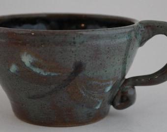 Turquoise Brown Mug Wheel Thrown Stoneware Hand Painted Dragonflies Dragonfly OOAK 10 oz.