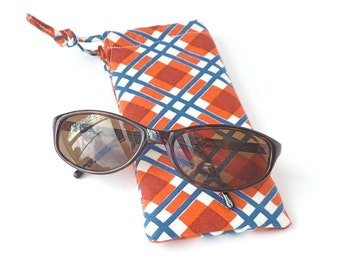 cute plaid ladies glasses pouch. padded sunglasses case for women. small gift. orange navy plaid