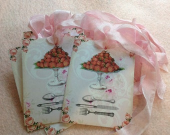 Set Of Strawberry Gift Tags - Greeting Card