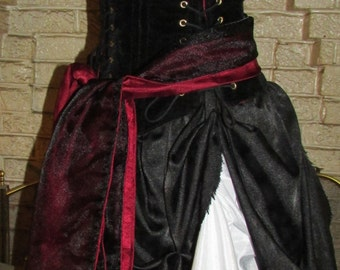 Pirate Fallen FAIRY Renaissance Gown Dress costum Wench Womens Costume reversible CORSET