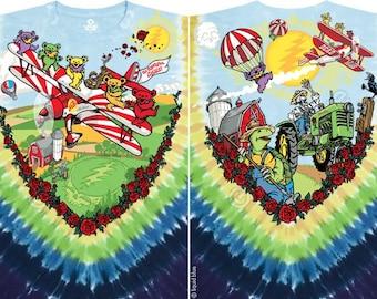 Grateful Dead Dancing Bears Bi Plane Tie Dye short  Sleeve Shirt  Sizes L  XL  2XL   deadahead