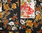 Vintage Pierre Cardin script signature 34 inch silk square scarf, Lush colorful floral, 1970s, Bonus magnetic back brooch included