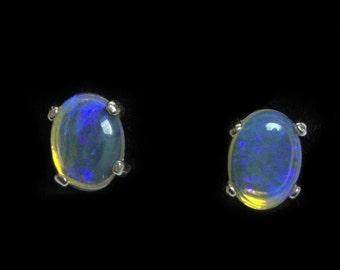 Opal Sterling Silver post earrings