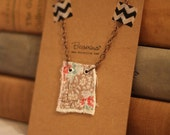 Vintage Quilt Pendant Necklace 18