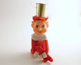 Vintage Christmas Ornament Pixie Elf Knee Hugger Christmas Decoration Good Luck