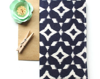 Navy Ikat Fabric Checkbook Cover