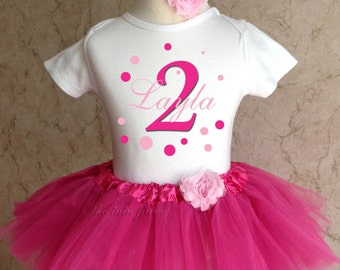 Pink Dark Light Polka Dots Script Name 1st 2nd 3rd 4th 5th 6th 7th Birthday Personalized Custom Name Age Shirt & Pink Tutu Set Girl Outfit