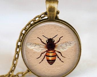 Honey bee antique bronze necklace ,  honey bee pendant , honey bee jewelry, insect art pendant , entomology, science pendant