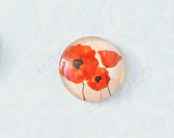 4pcs handmade red flowers  round clear glass dome cabochons 25mm (250085)