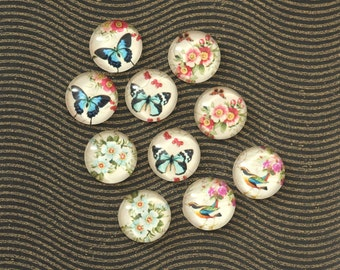 10pcs handmade assorted butterfly bird and flower round clear glass dome cabochons 12mm (12-0878)