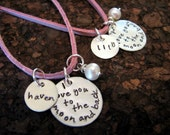 Pink Suede Toddler/Girls' Love you to the Moon Stamped Necklace