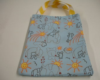 Elephants You Are My Sunshine Blue and Yellow Tote Bag Ready to Ship On Sale