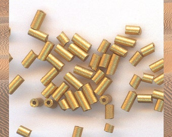 Gold beads | gold matte beads | glass tube beads | 400 beads