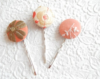 3 coral hairpins, embroidered hairpins, fabric hairpins, 1 1/8 inch hairpins, hair accessory, womens accessory