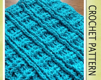 PDF Crochet Pattern - RIBBED DISHCLOTH Crochet Pattern