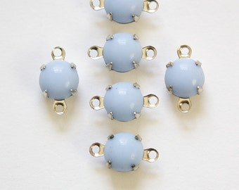 Vintage Periwinkle Blue Glass Stone 2 Loop Silver Setting Drops rnd003L2