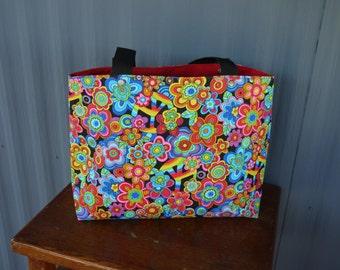 Flower Power Carry Bag / Tote Bag / Market Bag / Book Bag / Carry All - Retro Hippy 70s Flowers