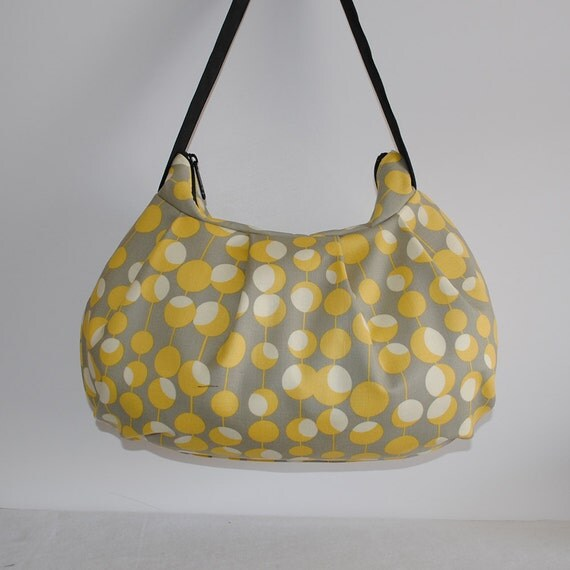 Pleated Bag // Shoulder Purse - Martini Pattern, Mustard