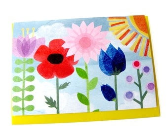 Rainbow Flower Garden // Collage Art Card