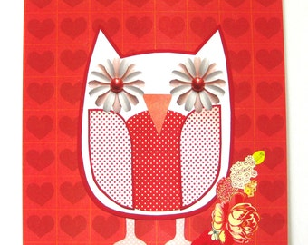 Owl Collage // Red & White // Collage Art Print
